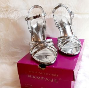 Rampage Shiny Silver Heels